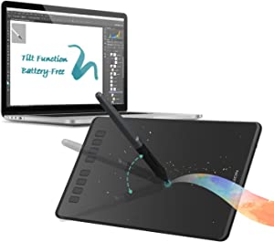 HUION Inspiroy H950P Graphics Drawing Tablet with Tilt Feature Battery-Free Pen 8192 Pressure Sensitivity and 8 User-Defined Shortcuts,Compatible with Mac, PC or Android Mobile