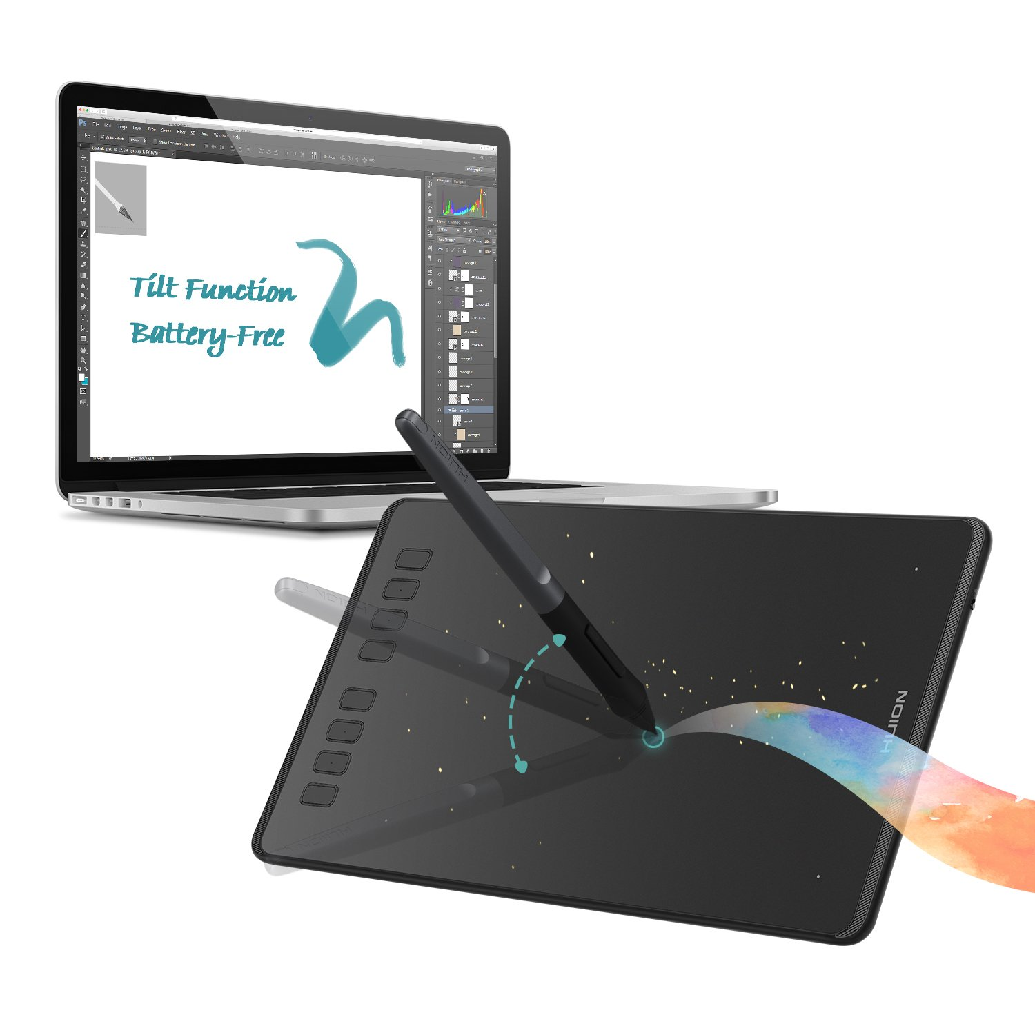 Huion Inspiroy H950P Graphics Drawing Tablet with Tilt Feature Battery-free Pen 8192 Pressure Sensitivity and 8 User-defined Shortcuts