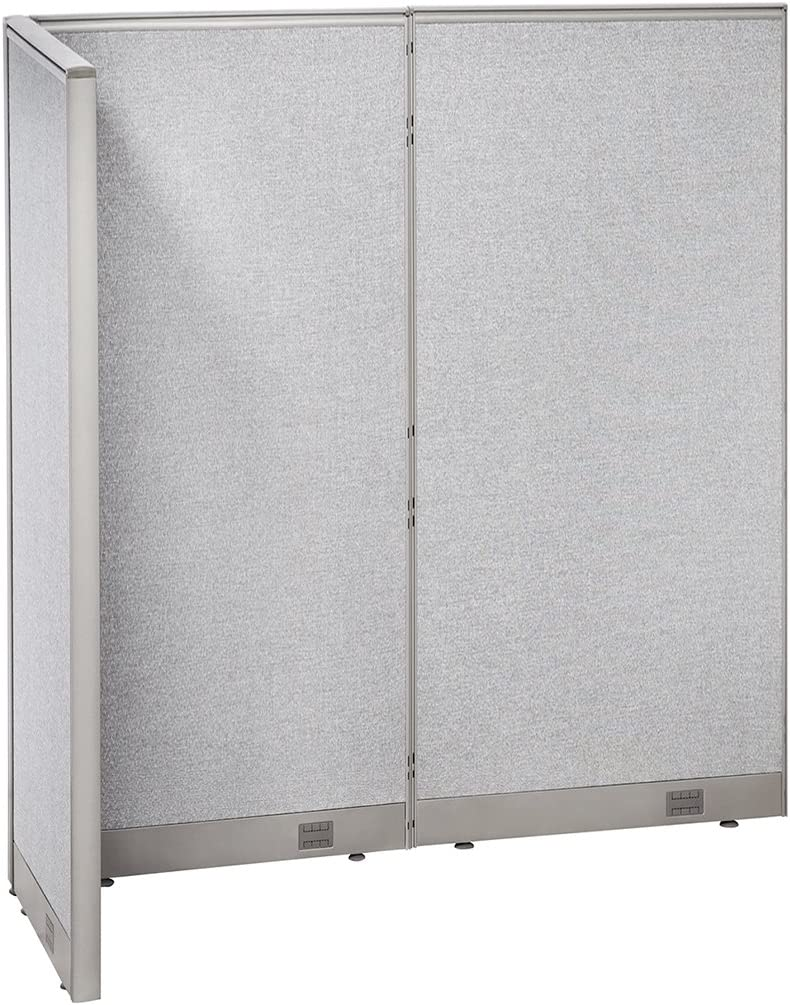 "GOF Freestanding L Shaped Office Partition, Large Fabric Room Divider Panel, 30""D x 60""W x 72""H"