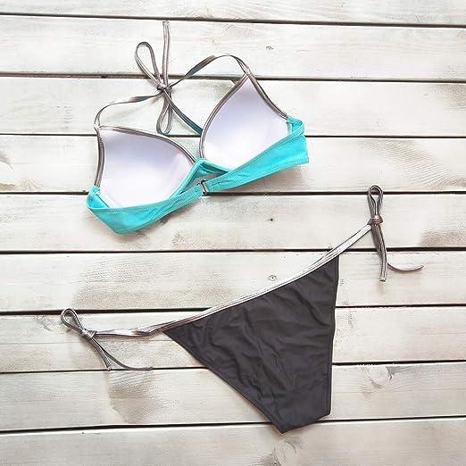 Luckycat Bañador Lentejuelas para Mujer, Bikini Push up Trajes de baño Playa de Verano Monokini: Amazon.es: Ropa y accesorios