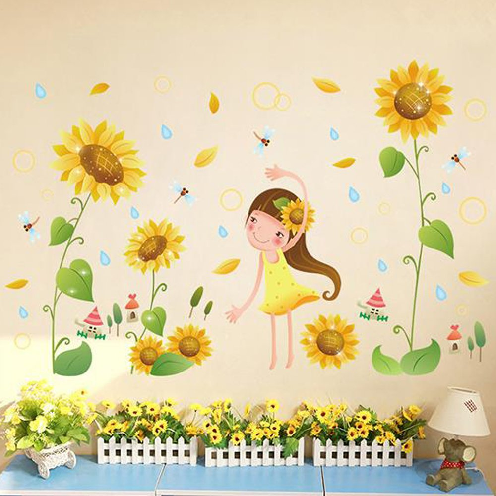 Amazon.com: Girl Sunflower Flowers Dragonfly Wall Sticker Decal Home ...