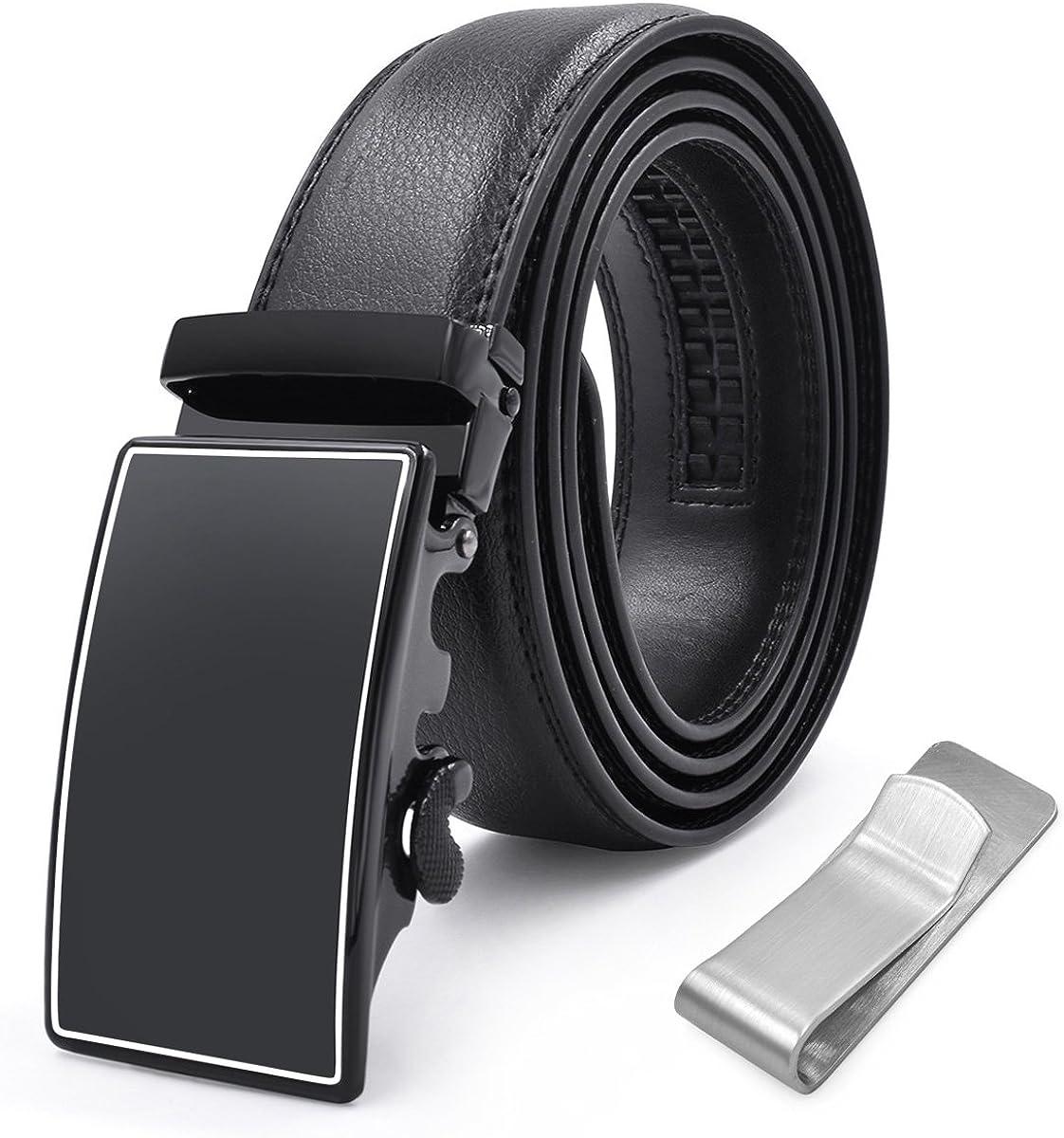Mens Belt Leather Fashion Belts Automatic Sliding Ratchet Adjustable Black Belt