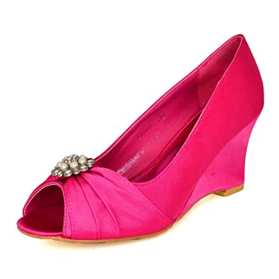 Women Floral Lace Satin Mid Wedge Heel Shoes Casual or Occasion Dress Party Size