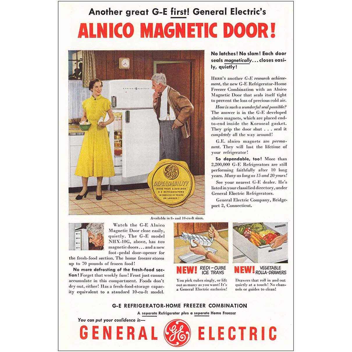 1950 General Electric Refrigerator: Alnico Magnetic Do, General Electric Print Ad