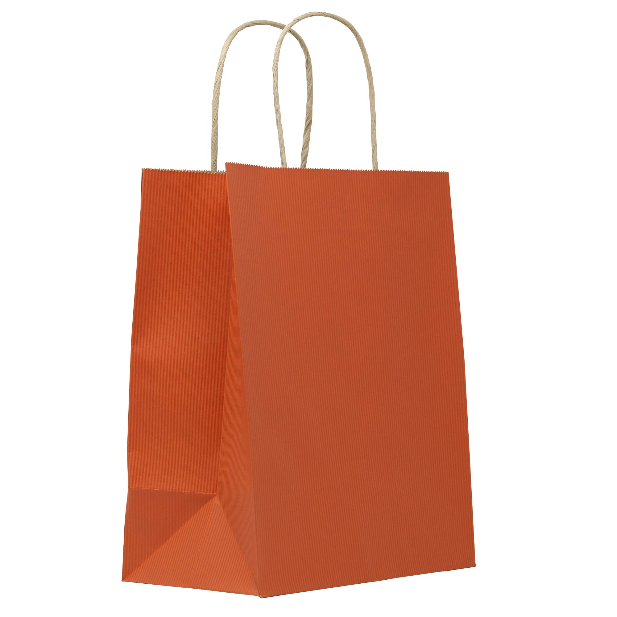 PTP - 8'' x 5'' x 10'' - Terracotta Orange (Stripes) Kraft Paper Gift Tote Bags - 250 Count | Perfect for Restaurants, Birthdays, Weddings, Holidays and All Occasions by PTP BAGS