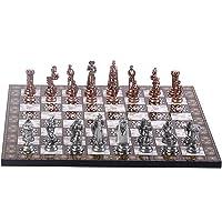 Orta Boy Metal İngiliz Satranç Takımı Antik ve Sedef Desenli MDF Satranç Tahtası (37x37 cm.)
