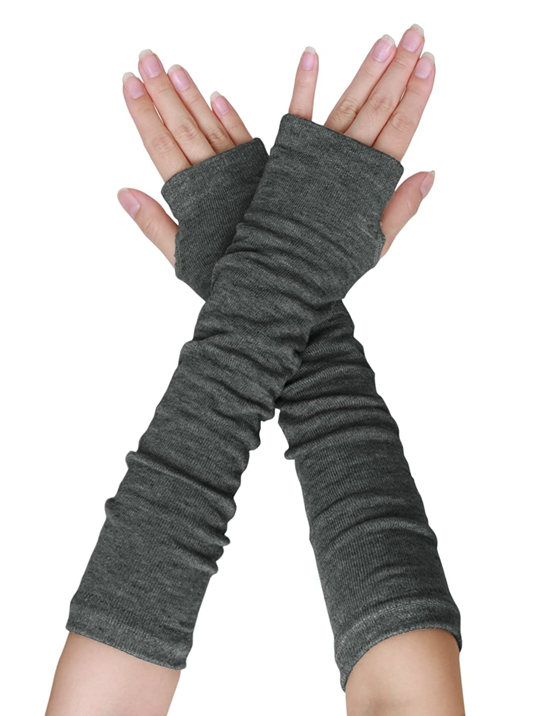 sourcingmap Paar Damen Elbogen Lang Stretch Damenlöchern Arm Warmer Fingerlos Handschuhe