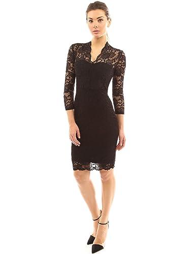 PattyBoutik Women's V Neck 3/4 Sleeve Overlay Lace Sheath Dress