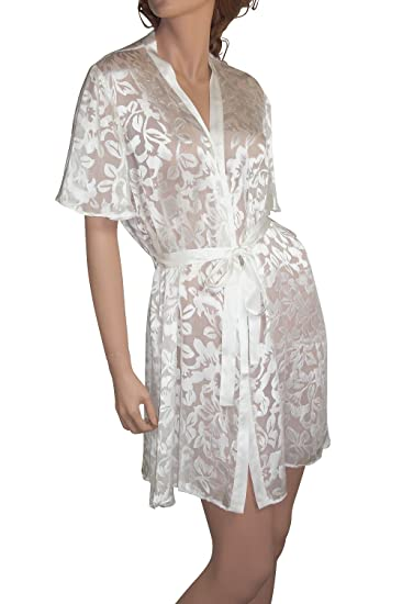 ed05de4b1f Nyteez Women s Plus Size Silk Burnout Kimono Robe Cover-up (White ...