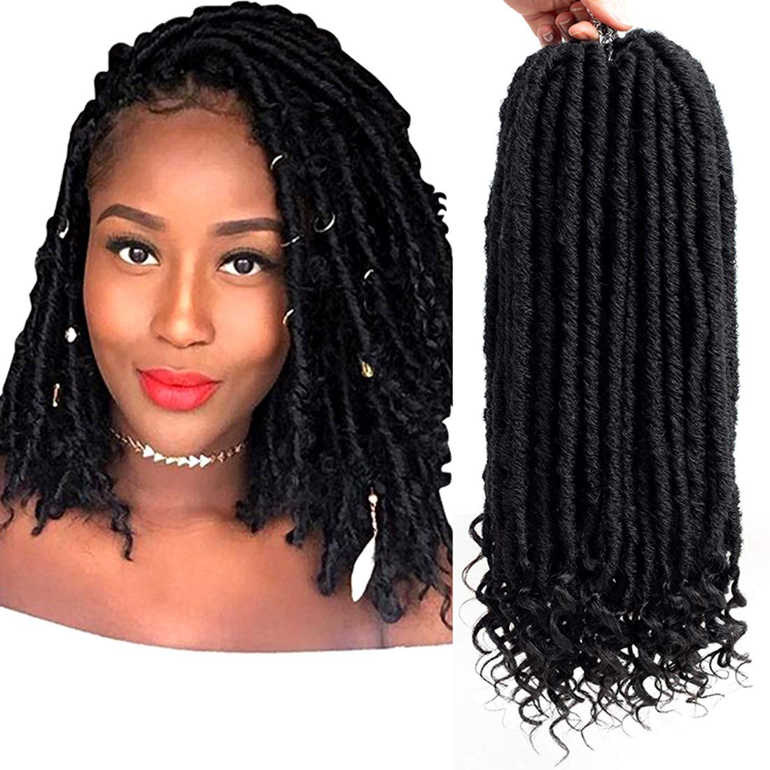 Amazon Com Sunrs 6 Packs 14 Short Goddess Faux Locs With Curly Natural Black Straight Dreadlocks Crochet Braid Hair Extensions 24 Roots Dreadlocks Fiber For Girl Women 14 1b Beauty
