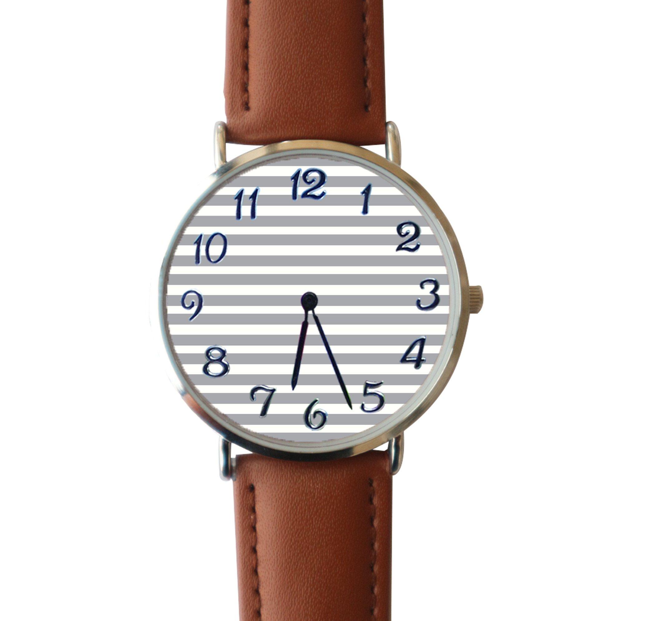 JISJJCKJSX Gray and White Stripe custom watches quartz watch stainless steel case