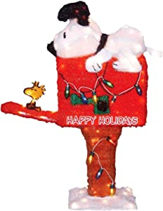 ProductWorks 36-Inch Peanuts Pre-Lit Snoopy on The Mailbox Animated Christmas Yard Art, 105 Lights