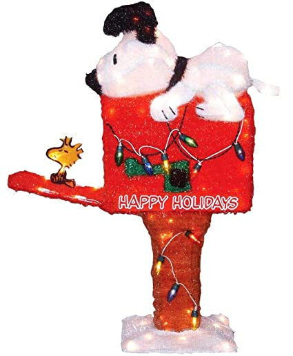 Peanuts Outdoor Christmas Decorations.Productworks 36 Inch Peanuts Pre Lit Snoopy On The Mailbox Animated Christmas Yard Art 105 Lights
