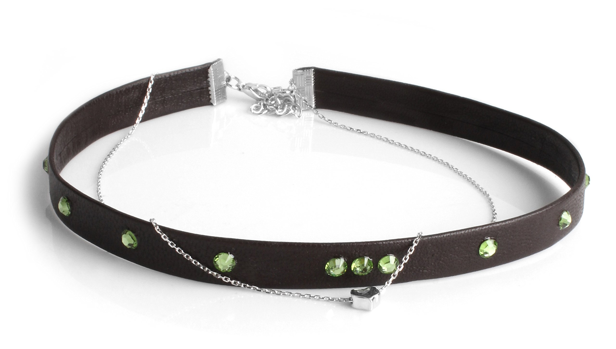 Necklace Choker Swarovski Genuine Leather Silver 2Line Find Your Size CéK NC3316 (14 Inches)