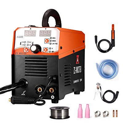 MIG Welder Gas/No Gas DC 220V 125 AMPS MIG/MMA/LIFT TIG 3 in 1 Flux Core Wire Automatic Feed Inverter Welding Machine MMA MIG MAG IGBT Inverter Welder [5Bkhe1107412]