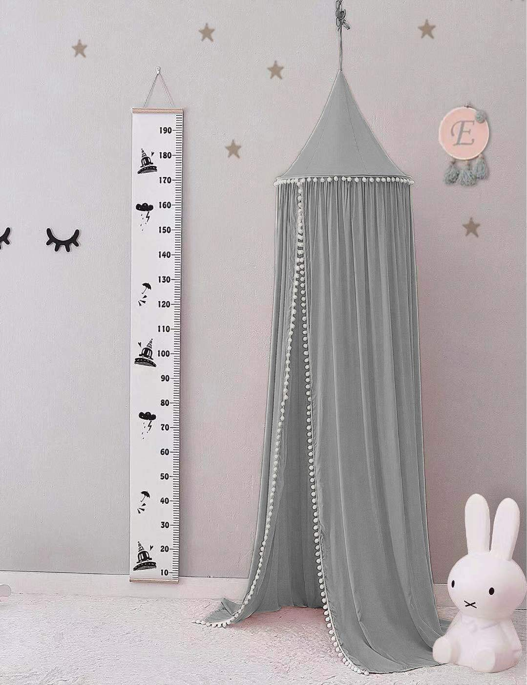 Pampido Baby Bed Canopy Cotton Mosquito Net for Bedroom Nursery Play and Reading Time Baby Insect Protection Grey Girls Blue Height 240 cm White Pink