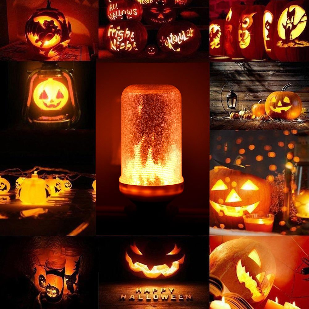 Lumiereholic LED Bulbs Flame Effect Light Bulb Fire Flickering Decorative Bulbs Simulated Nature Fire Atmosphere Lamp for Christmas//Home//Party//Garden//Bar//Halloween//Festival Decoration