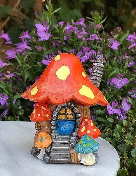 Miniatura casa de muñecas hada jardín figura gnomeland mini hongos casa de cabaña: Amazon.es: Amazon.es
