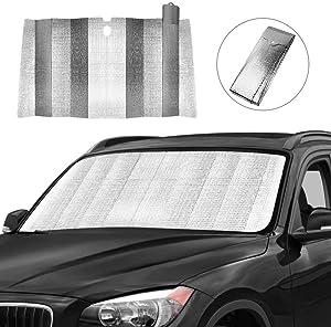 Car Windshield Sun Shade, Front Window Car Sun Shade for Windshield - Blocks UV Rays Sun Visor Protector, Foldable Sun Reflector to Keep Your Vehicle Cool, Easy to Use (Silver)