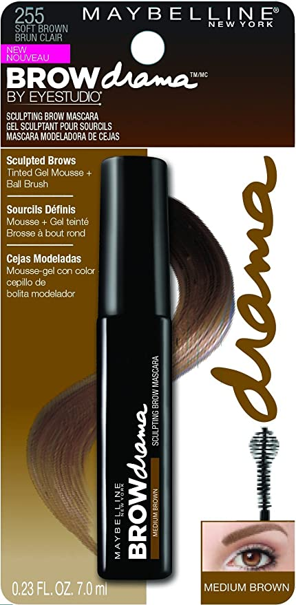Maybelline Brow Drama Máscara de Cejas, Tono: Medium Brown - 7.6 ml
