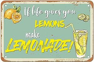 Tin Signs - If Life Gives You Lemons Make Lemonade - Vintage Metal Sign for Cafe Home Farm Supermarket Bar Pub Garage Hotel Diner Mall GardenDoor Wall Decor Art