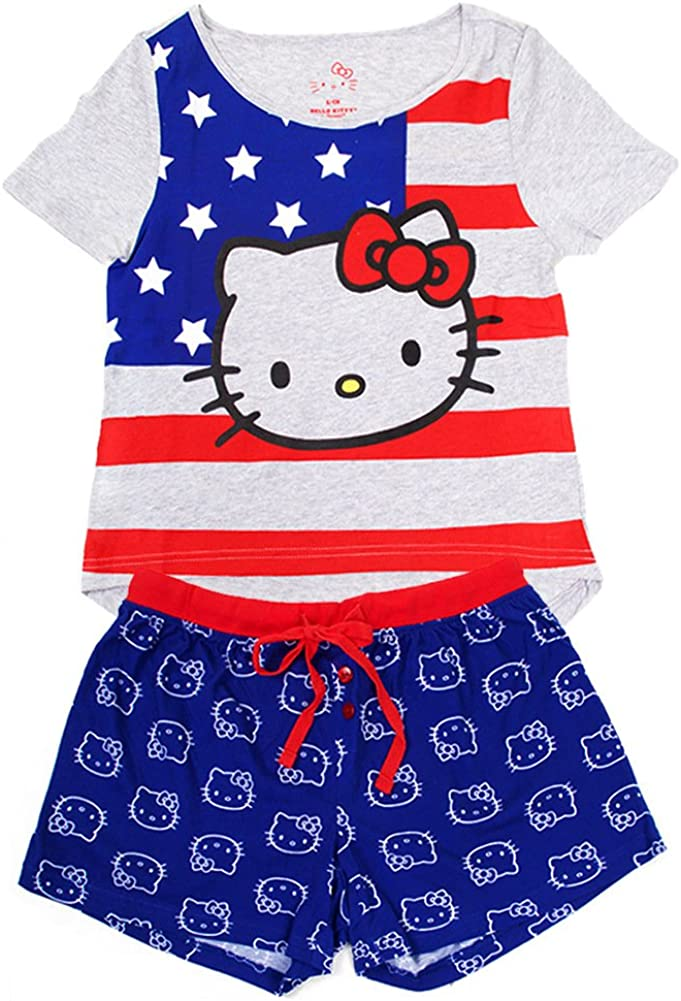 ScarvesMe Hello Kitty 2pc Cotton Licensed USA American Flag Grey Shirts Shorts Hellokitty Set