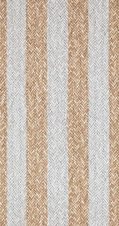 18310 Riviera Maison Rattan Stripe Beige Brown Grey