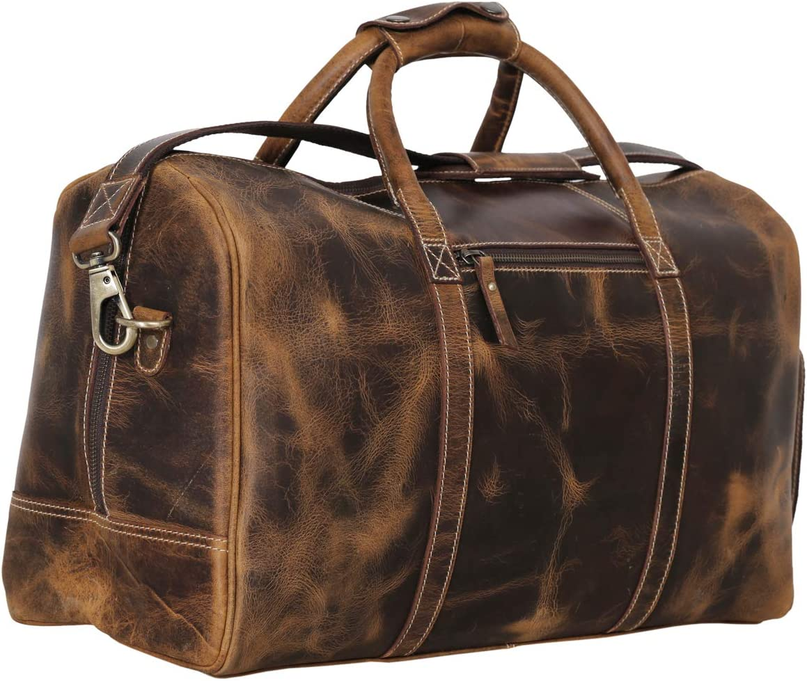 Leather Duffel Bag Travel Gym Sports Overnight Weekend cabin holdall by KomalC Distressed Tan