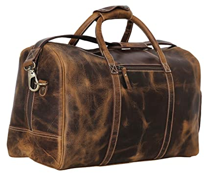 948b75116f9d67 Image Unavailable. Image not available for. Color: Leather Duffel Bag  Travel Gym Sports Overnight Weekend ...