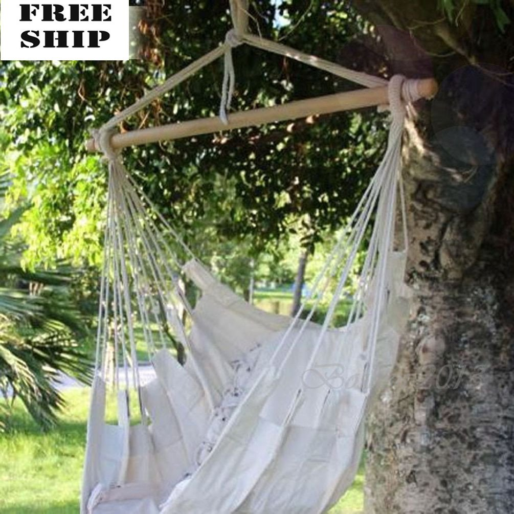 Hammock Hanging Chair Air Sky Swing Outdoor/Indoor Porch Patio Solid Wood 250Lbs