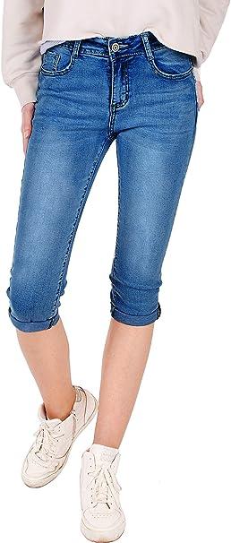Fraternel Damen Jeans Hose Shorts Capri Knielang Stretch