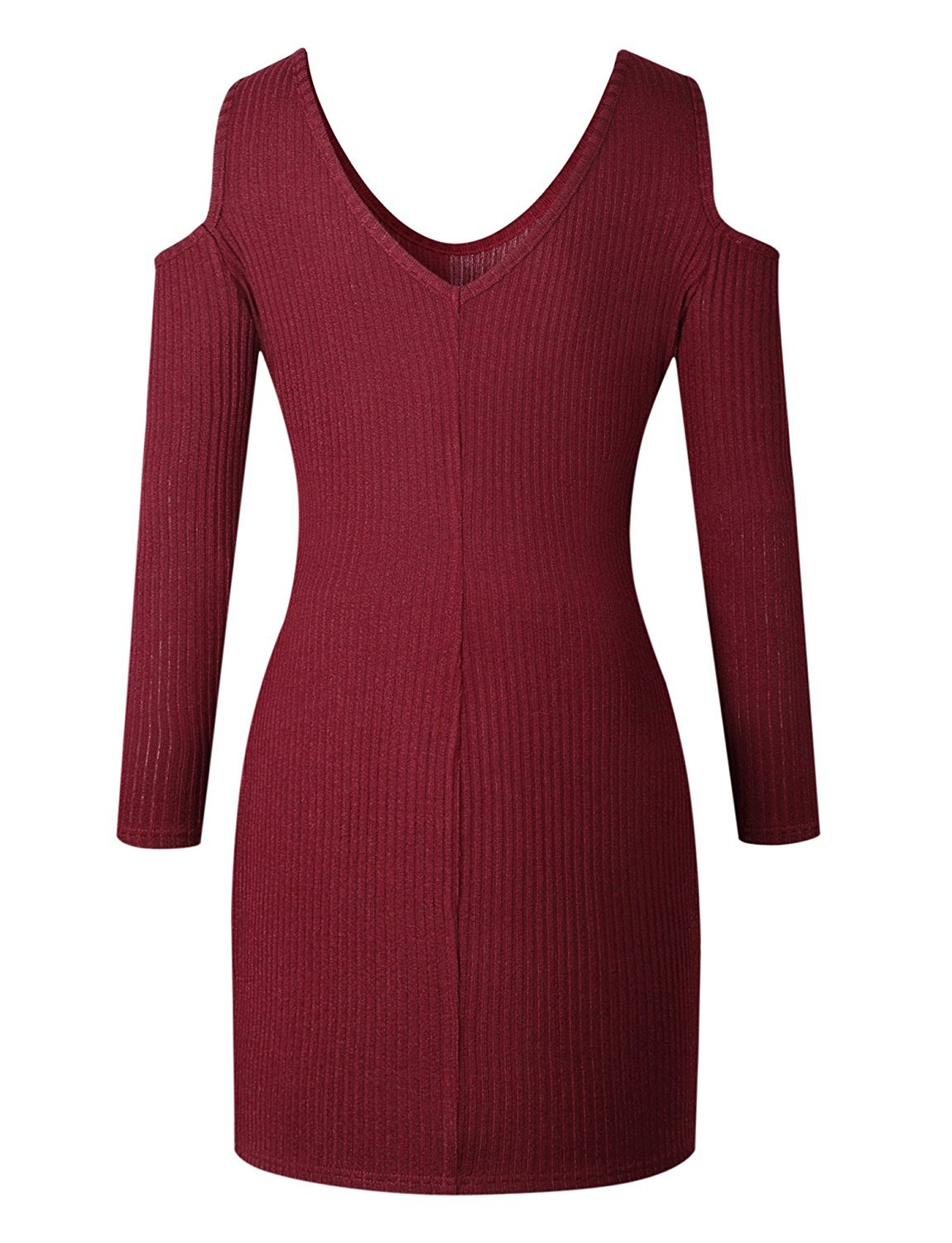 Ninimour Womens Sexy Knitted Cold Shoulder Bodycon Mini Dress Wine Red XL