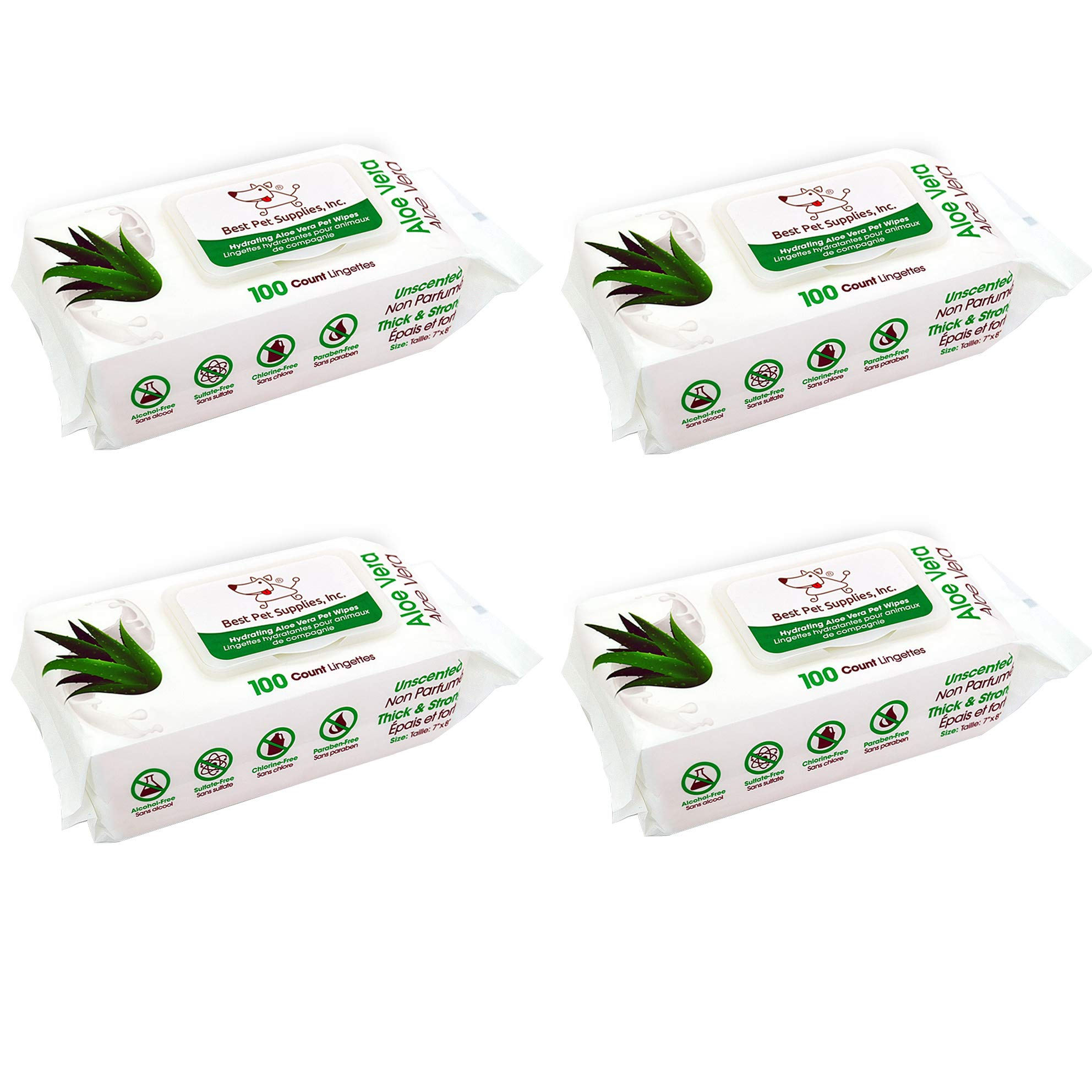 Best Pet Supplies WW-AV-400 Aloe Vera Deodorizing Pet Grooming Wipes