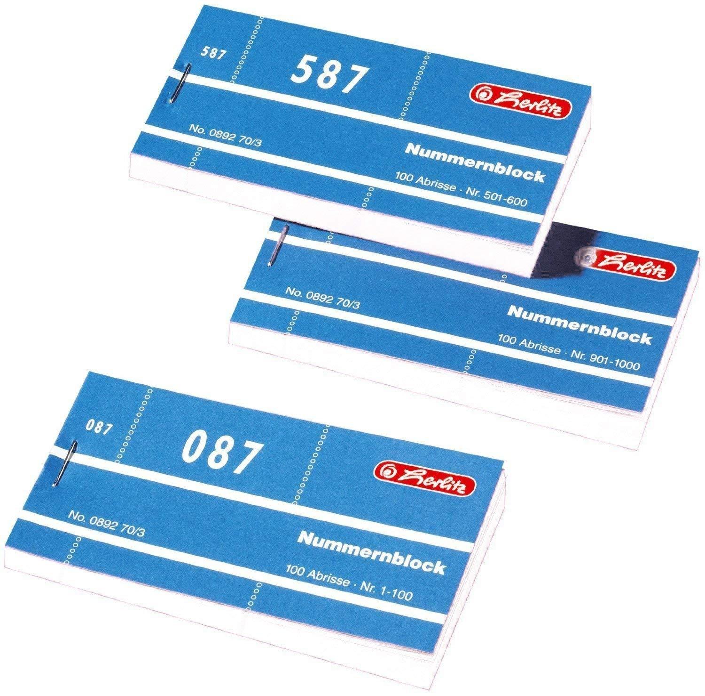 blau Herlitz Nummernbl/öcke 1-1000 Nummer 1-1000 10x100 Abrisse