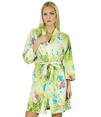 8b3062dead Bimba Women Short Cotton Robe Bridesmaid Getting Ready Wrap Cover Up Green