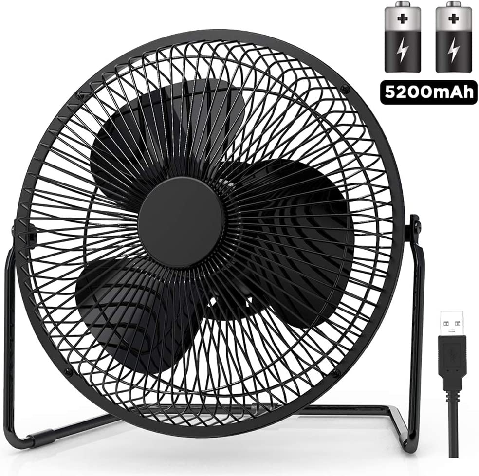 8 Inch USB Desk Fan Portable 5200mAh Battery Powered Fan Personal Cooling Fan Quiet Small Electric Desktop Table Fan with 4 Speeds and 360 Rotation Features for Home, Office, Travel, Outdoor Black
