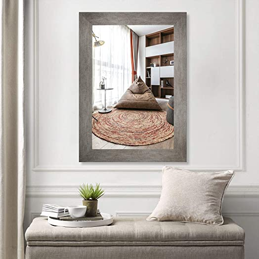 U HOME Rectangular Framed Mirror, 35 x 25 Bathroom Vanity Mirror for Makeup, Decoration, Wall, Bedroom, Livingroom, Grey