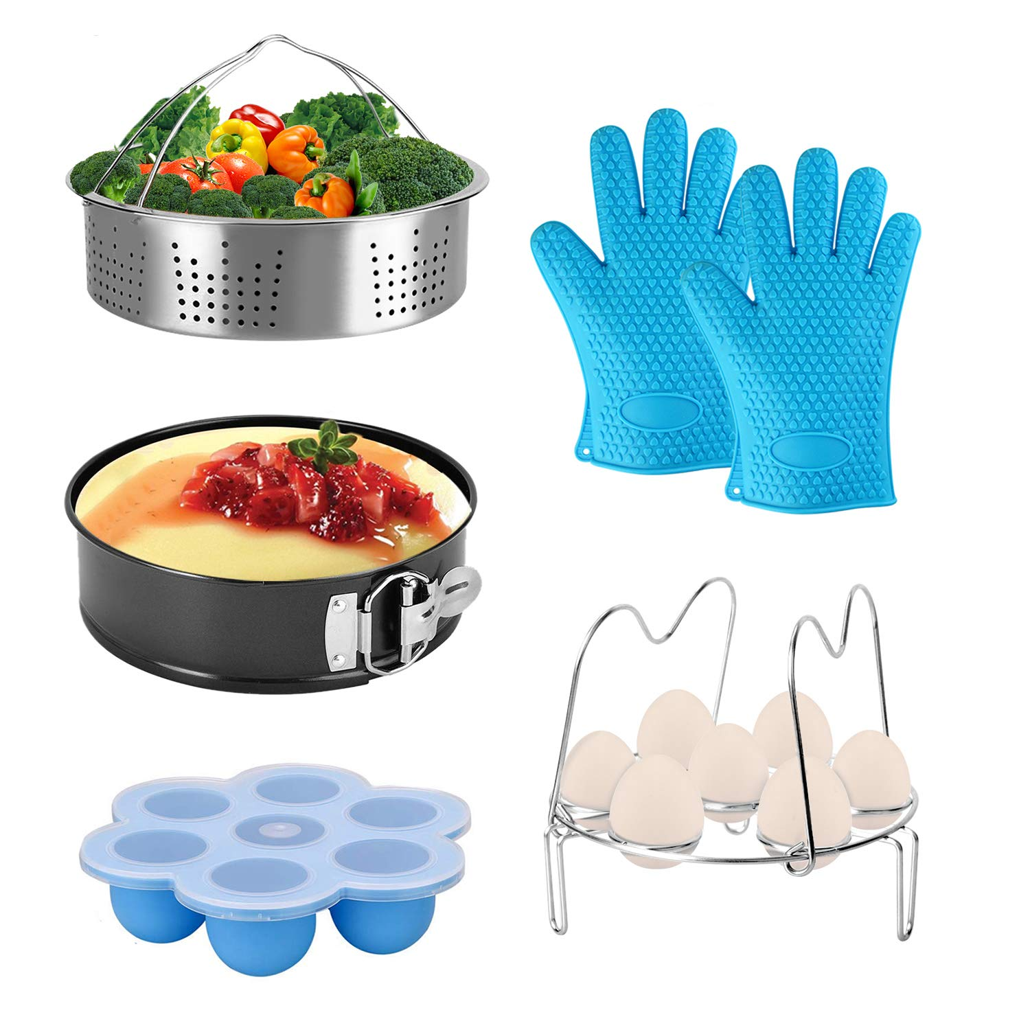 Accessories fit 8qt 6qt Instant Pot Pressure Cooker Upgrade Egg Rack with Handle, Egg Bites Mold with Lid, Vegetable Steamer Basket, Non-stick Springform Pan and Silicone Oven BBQ Glove Mitts