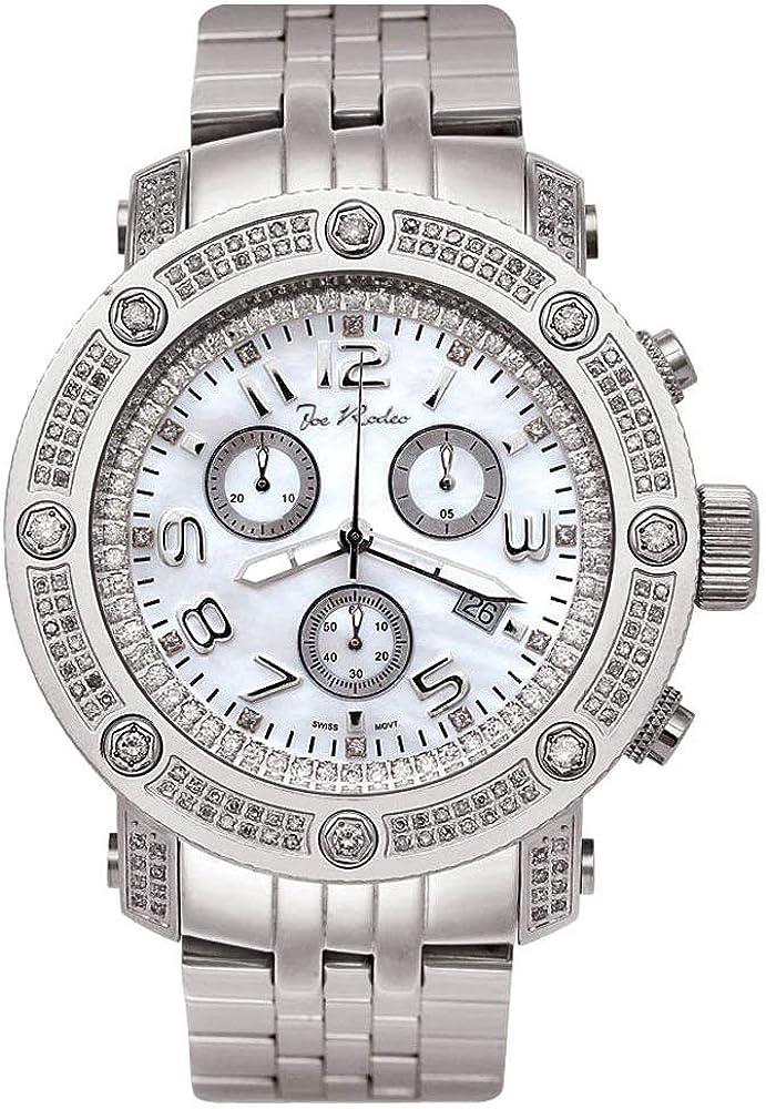 Joe Rodeo diamante de cuero de los hombres reloj - APOLLO plata 1,7 ctw