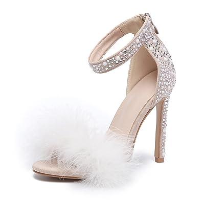 azmodo Women s Wedding Dress Party   Evening Stiletto Heel Pearl Fur Sandals  813-13(