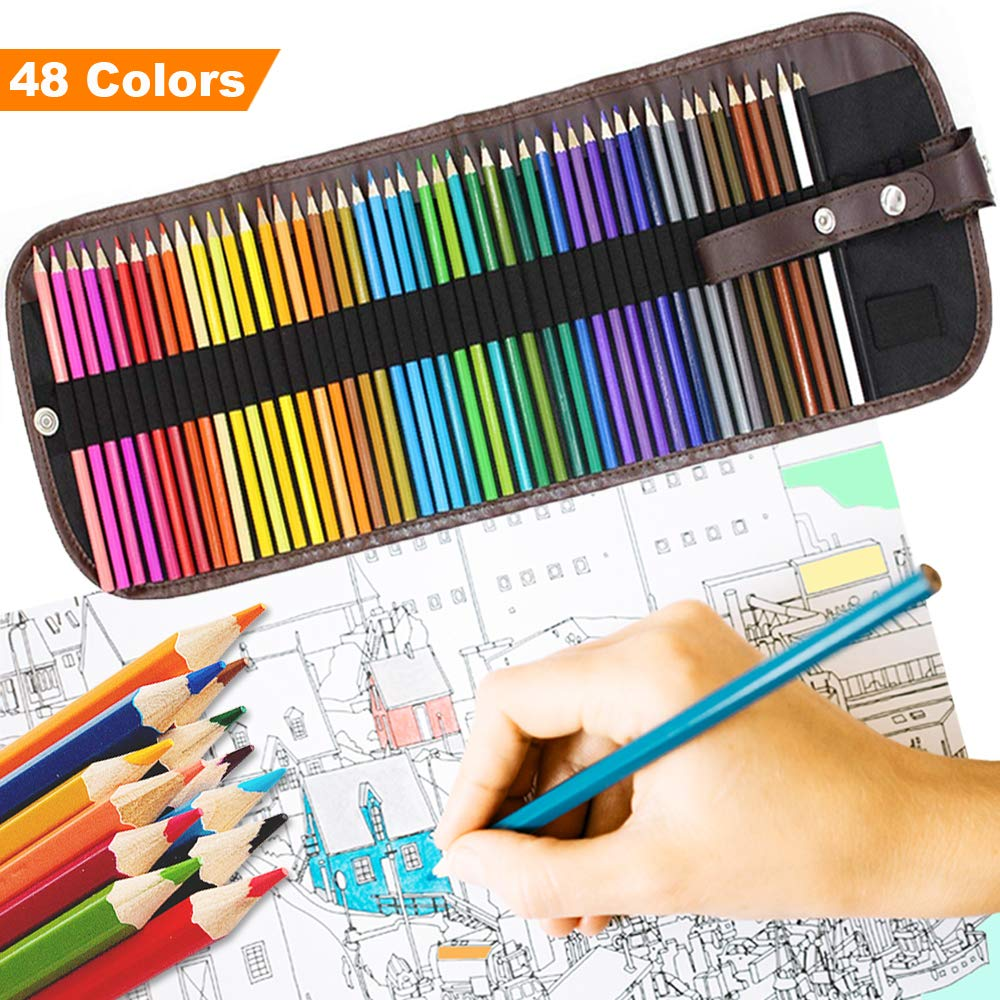 TYGJ WMH 36/48-color Colored Watercolor Pencils/Drawing Pencils/Sketch with Paint Brush and Sharpener (Included Pencil Bags) (48-color) by Kindom of Dreams