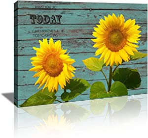 KuyiArt-Sunflower Picture Wall Art with Inspiration Motto Gallery Wrap Canvas Prints for Home Room Office Wall Decor Ready to Hang (12x16inch)