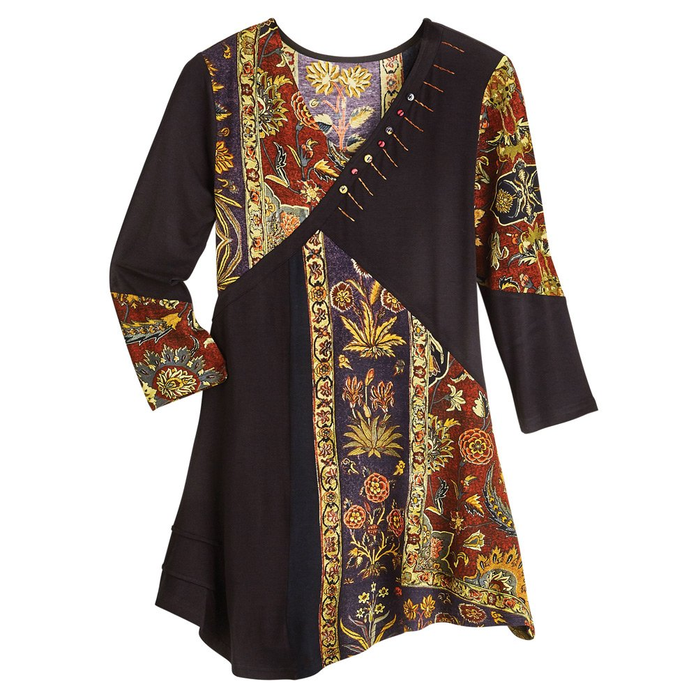 Women's Tunic Top - Floral Tapestry Patchwork Long Sleeve Blouse- 1X