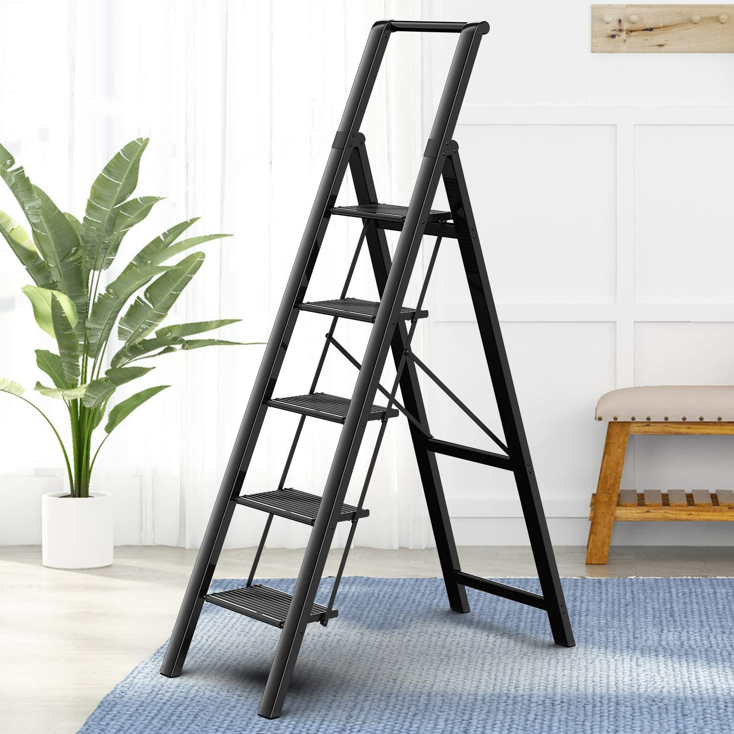 GameGem 5 Steps Lightweight Aluminum Ladder Folding Step Stool Stepladders with Anti-Slip and Wide Pedal for Home and Kitchen Use Space Saving (Black)