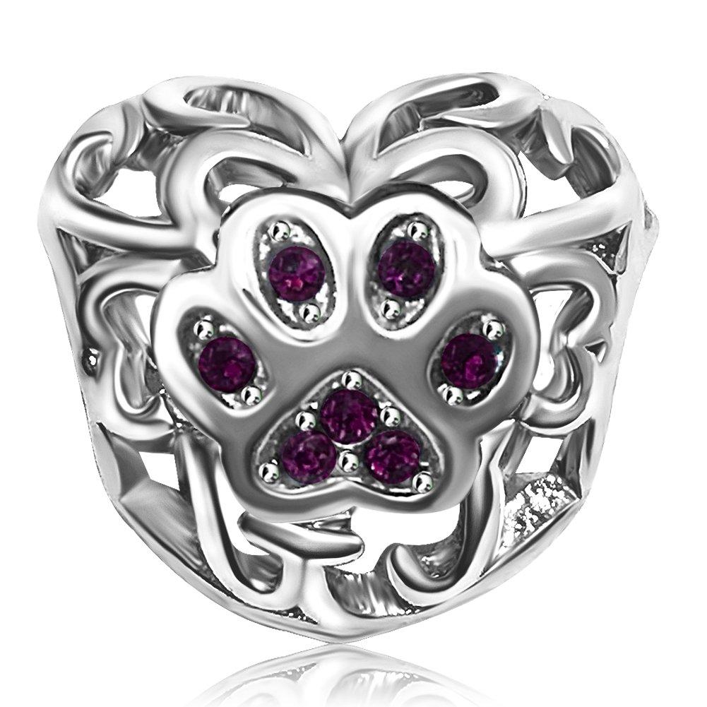 JMQJewelry Heart Charm Dog Mom Paw Birthday Birthstone 12 Colors Charms Bead for Bracelets