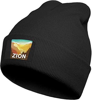 Mens Knitting Beanie Zion-National-Park Caps Perfect for Skiing
