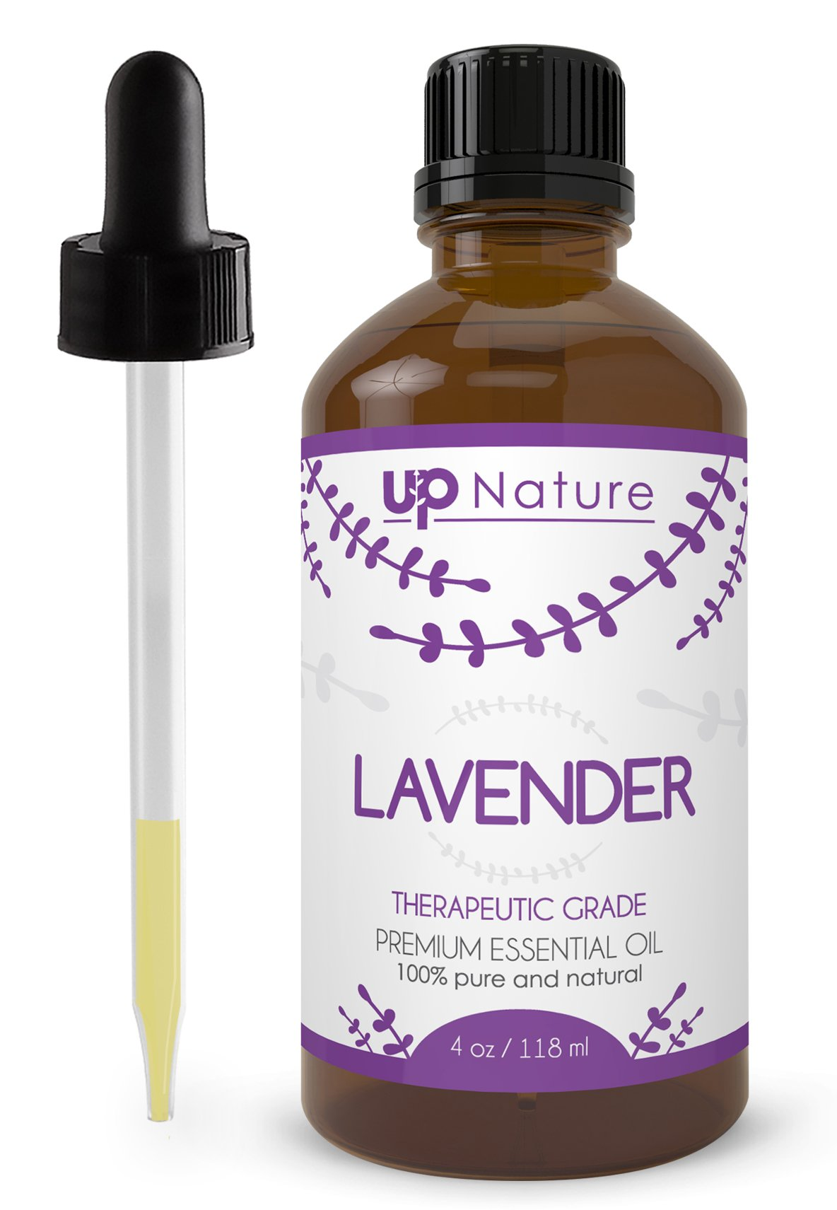 UpNature The Best Dutch Lavender Oil 4 OZ - 100% Pure & Natural, Undiluted & Unfiltered, Premium Quality With Glass Dropper - Perfect For Use For Hair, Diffuser, Scalp, Skin, Sleep