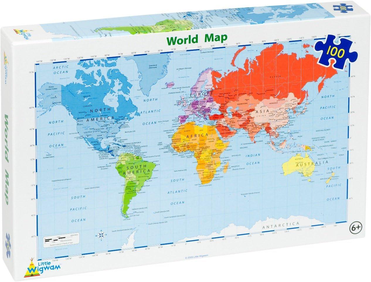 Little Wigwam - Puzzle del Mapa del Mundo (100 Piezas): Amazon.es: Bebé