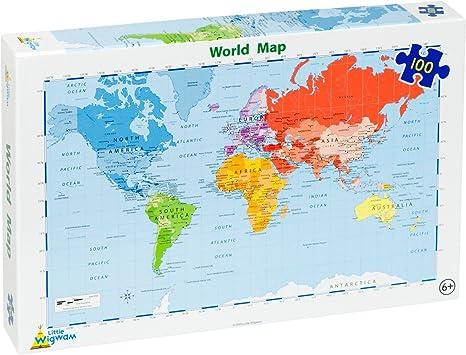 Little Wigwam - Puzzle del Mapa del Mundo (100 Piezas): Amazon.es ...