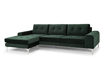 Amazon.com: Nuevo Colyn Sectional Sofa with Brushed Silver ...